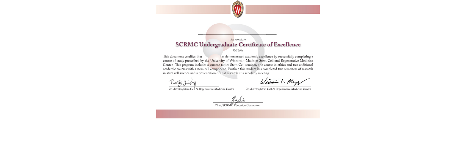 Undergraduate Certificate of Excellence in Stem Cell Sciences ...